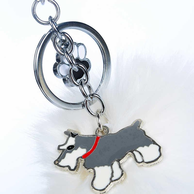 Lông thỏ Pompom Tiêu Chuẩn Schnauzer Dây Đeo Chìa Khóa Cho Phụ Nữ Người Đàn Ông Pom Pom Bóng Con Chó Mặt Dây Chuyền Túi Quyến Rũ Keyring Xe Keychain vòng chìa khóa