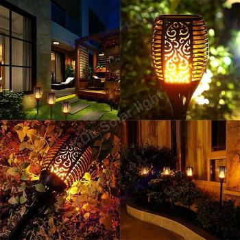 4pcs/lot new arrival Solar 96LED Lawn Dancing flame Torch Lights radar 3 working mode Led    Out torch lands