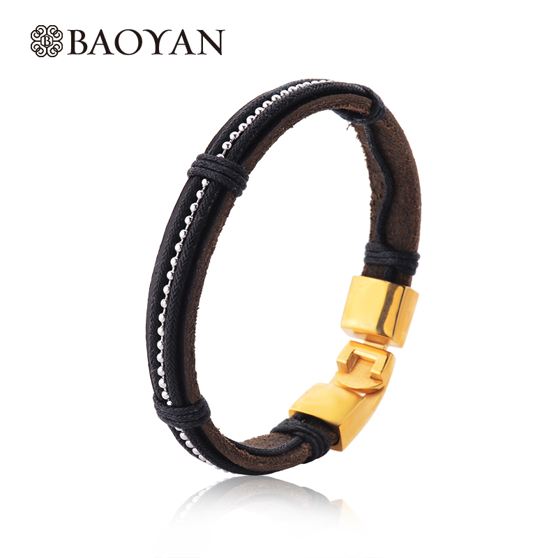 22CM Brown Color Leather Bangle Bracelet For Men 316L Stainless Steel Gold Color Never Fade Ouch Bracelet For Male N15