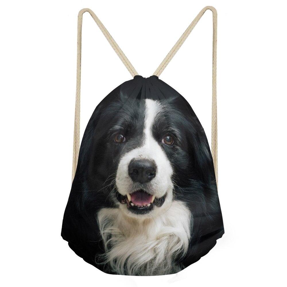 Casual Women Men Drawstring Bags Cute 3D Dog Border Collie Print Girls Soft Storage Backpacks School