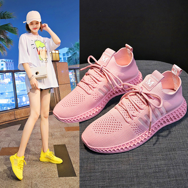 2019 New Chunky Fashion Sneakers Flyknit Women Thick Sole Ladies Female Chunky Shoes Women Casual Vulcanize Platform Sneakers