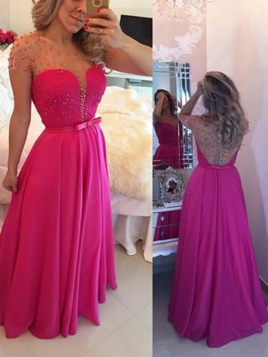 Alexzendra Hot Pink Chiffon Long   Prom     Dresses   Customize Pearls Cap Sleeves Elegant Party   Dresses   Plus Size