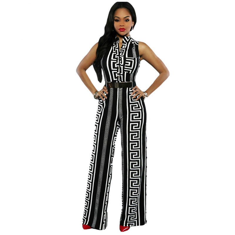 Echoine Wide Leg Women Jumpsuit Fashion Black Print Gold Belted Overalls Long Trousers Outfits Ladies Playsuits