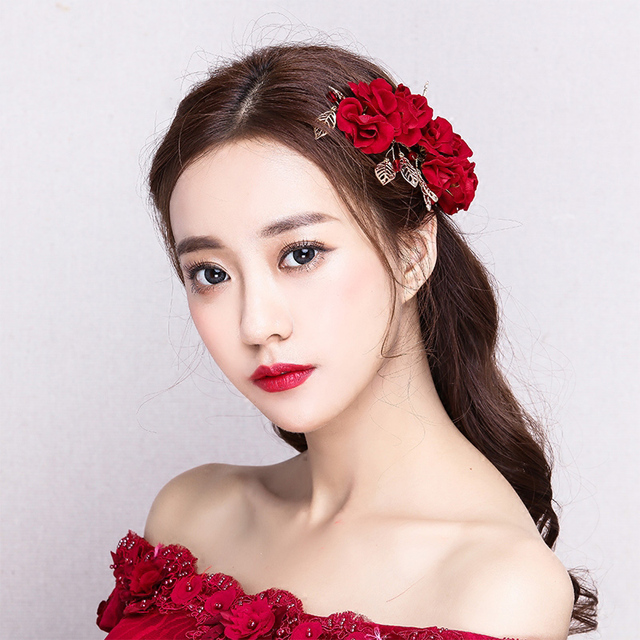 Red Flower Barrettes Gold Color Leaves Bridal Wedding Side Hair Clip S Party Hairpin Headdress Women