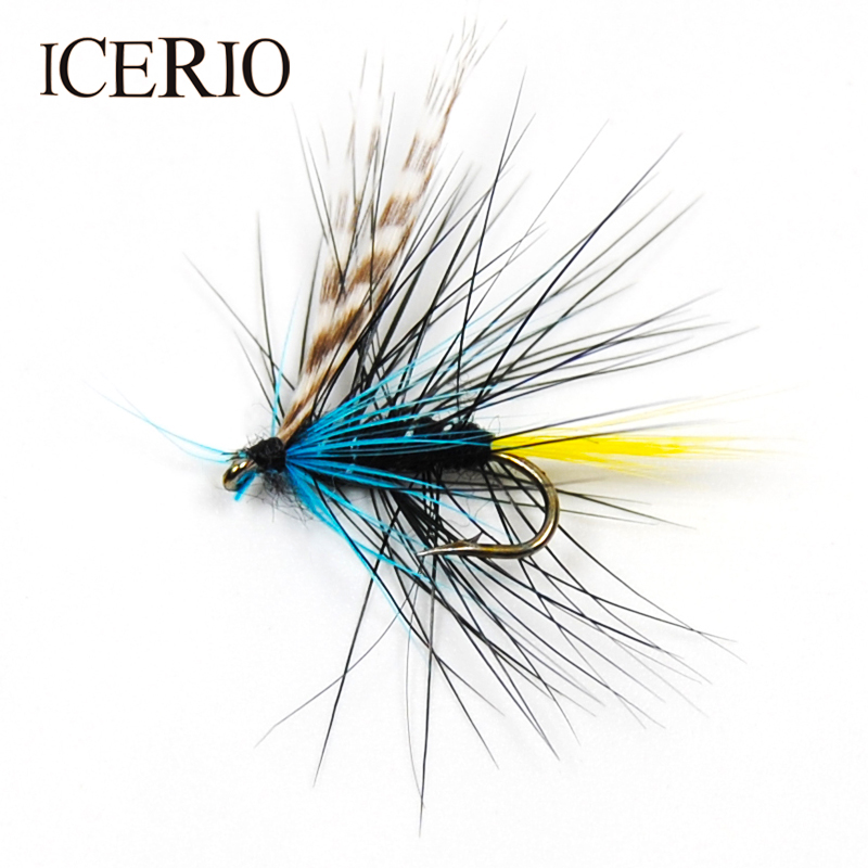 ICERIO 8PCS Blue Silver Caddis Fly Fishing Trout Flies Baits Size #12