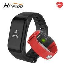 Hiwego фитнес-трекер Браслет монитор сердечного ритма Смарт F1 SmartBand крови Давление с Шагомер Браслет Мужчины Женщины лет