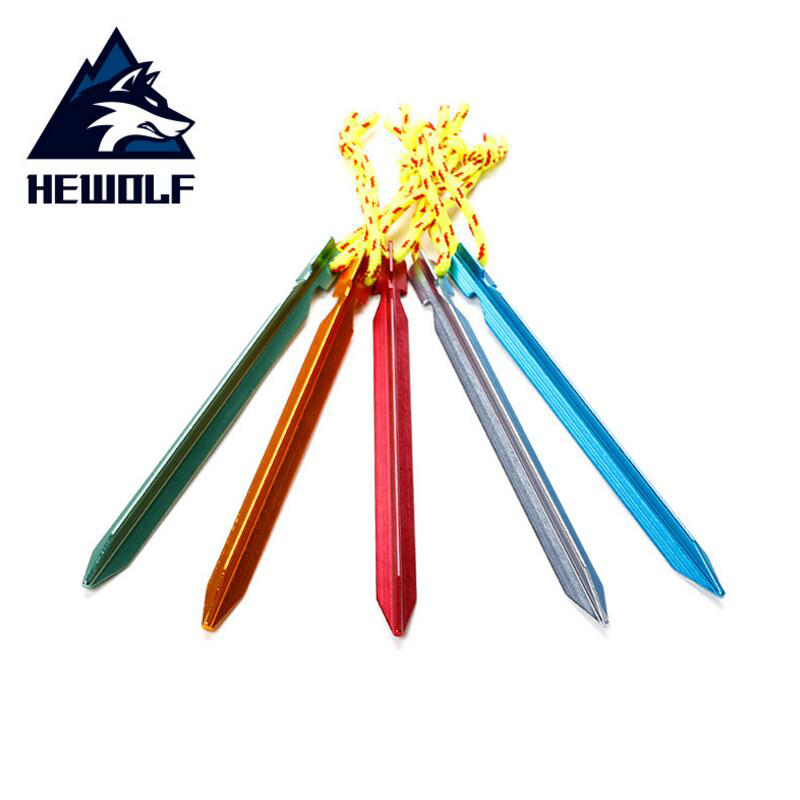 HEWOLF 5pcs/lot Tent Pegs 18cm Aluminum Tent Stake with Rope Outdoor Tent Nail Peg Tent Accessories Equipment Free Shipping