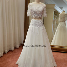 Liyuke Beautiful 3D Appliques A-Line Wedding Dress With