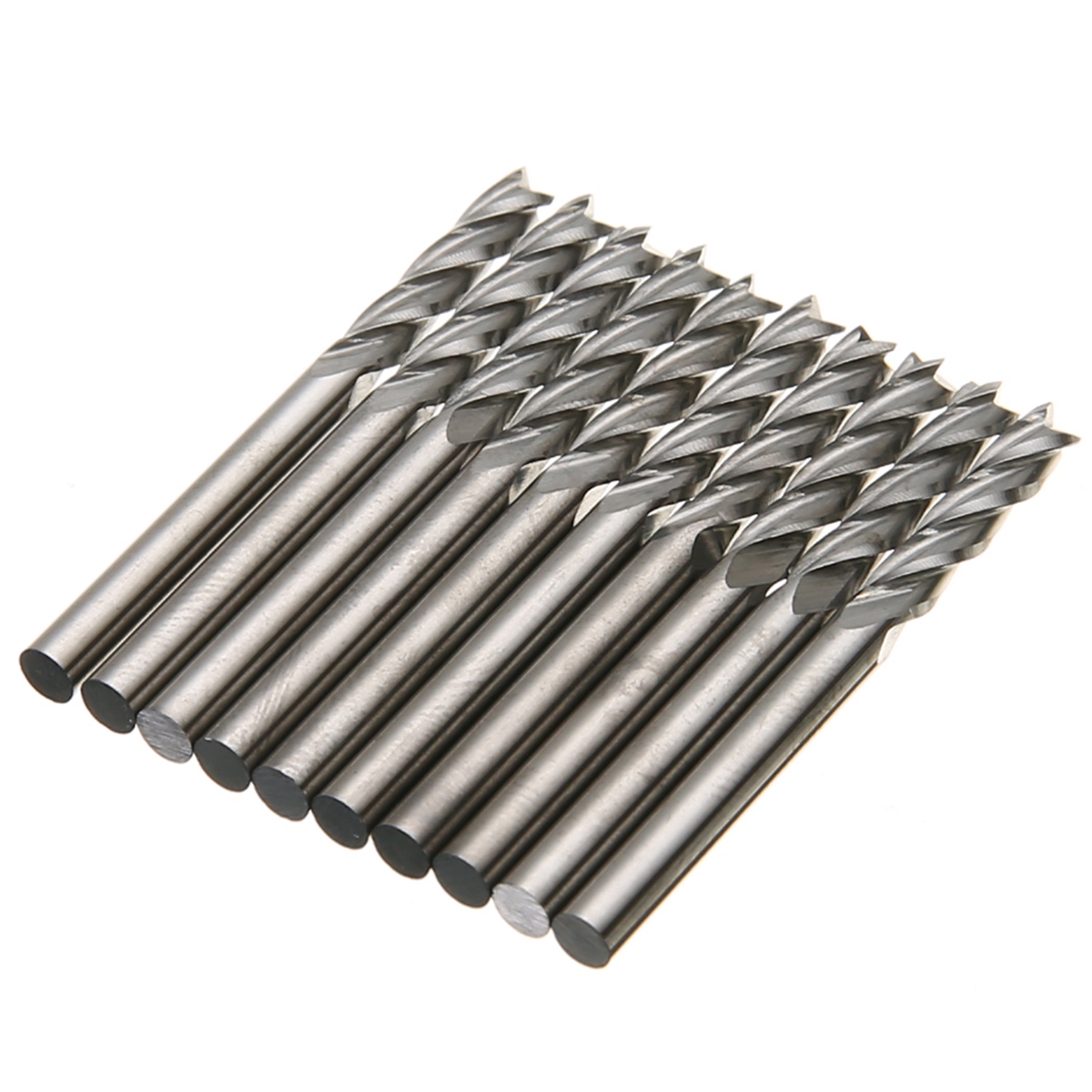10pcs 4 Flutes Carbide End Mill Cutter 1/8'' Shank Spiral CNC Milling Tool 15mm For Hard Wood PVC Milling Cutter 10pcs box 1 8 inch 0 8 3 17mm pcb smt cnc mould pastic fiber carbon fiber engraving cutter rotary cnc cemented carbide end mill