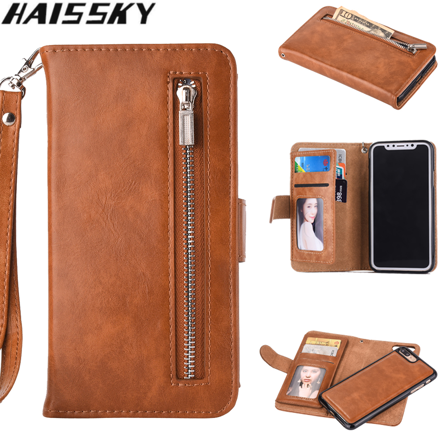 2 in 1 Zipper Wallet Leather Case For iPhone X XR XS Max 8 7 Plus