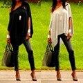 2016 verano estilo Mujeres de Verano Flojo Ocasional de La Camiseta del batwing irregular manga del hombro T shirt Tops Tees Más El Tamaño S-XL 67