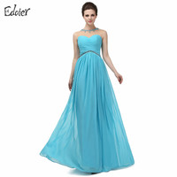 Elegant Bridesmaid Dresses A Line Sheer O Neck Beaded Crystal Chiffon Wedding Party Dresses Plus Size