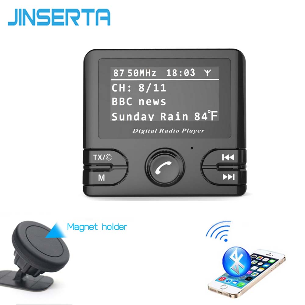 JINSERTA Digital DAB Radio Receiver TF Card DAB+ with FM Transmitter Function USB Charger Bluetooth Handsfree 3.5mm AUX Play car dab radio receiver fm transmitter handsfree bluetooth radio in car dab radio tuner with antenna support tf card