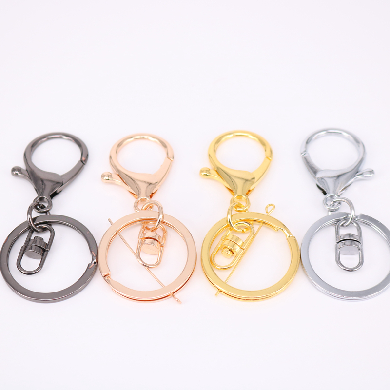 5pcs/lot 32mm Key Ring Long 70mm Popular classic 6 Colors Plated lobster clasp key hook chain jewelry making for keychain
