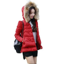 2016 New Winter Thicken Fur Collar Hooded Women Padded Jacket Coat Fashion Double breasted Slim Cotton