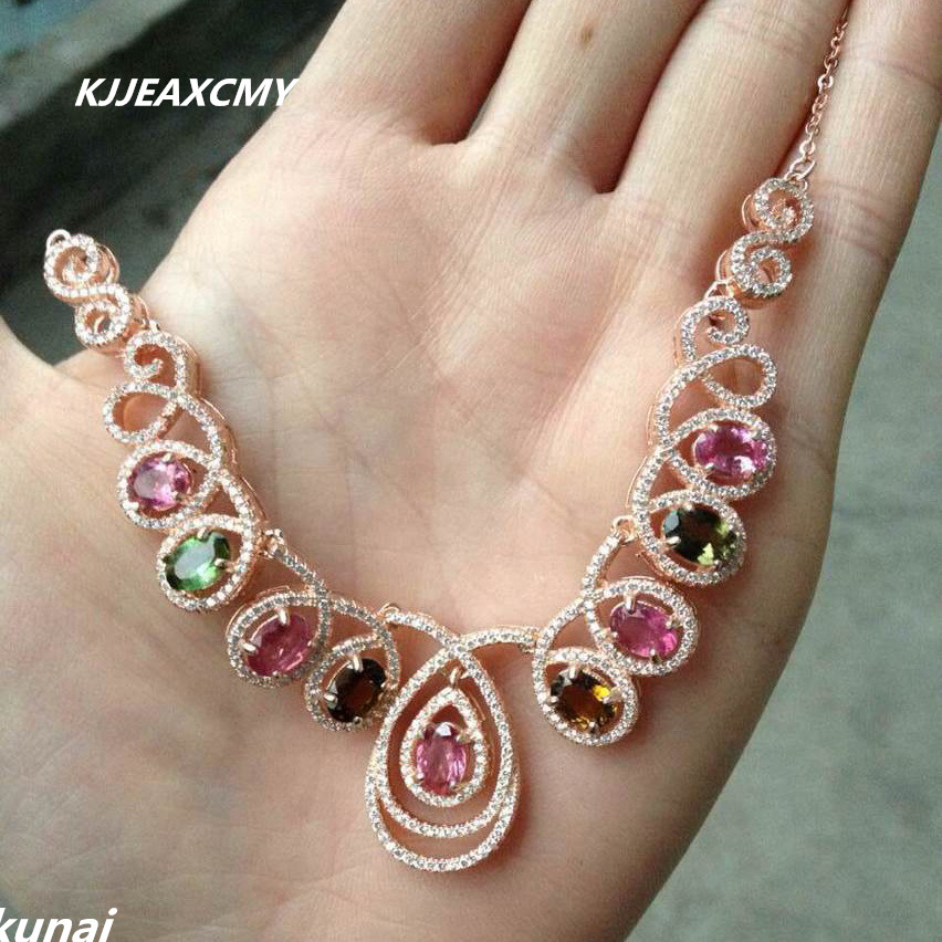 boutique jewelry,Colorful jewelry natural tourmaline chain row 925 silver silver rose gold necklace fine section whole