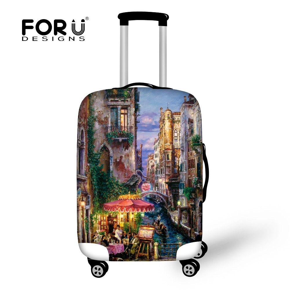 FORUDESIGNS Protective Covers For Suitcase Travel Waterproof Luggage Cover Elastic Stretch To 18''-30'' Case Landscape Covers