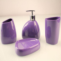 4 Piece set Bathroom Accessories Set Bath Ensemble, Soap Dispenser Pump, Toothbrush Holder, Tumbler, Soap Dish