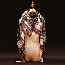 Za Cachecol de Inverno 2016 Da Marca de Luxo Tartan Cachecol de Caxemira Cobertor Xadrez de Lã Das Mulheres Cachecol Pashmina Envoltório Xales e Lenços Hijab(China (Mainland))