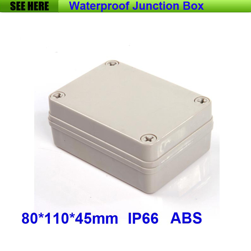 Free Shipping 1 Piece Mini Type IP66 ABS Grey Waterproof Plastic Box Enclosure 80*110*45mm 1 piece free shipping plastic enclosure for wall mount amplifier case waterproof plastic junction box 110 65 28mm