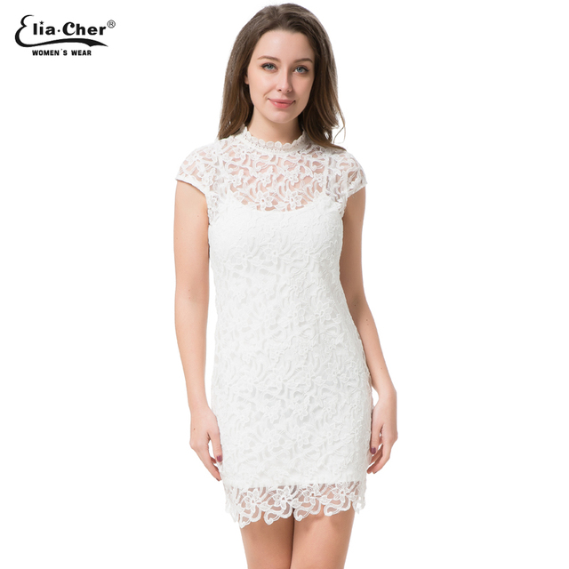 Women Dress 2017 Bodycon Dresses Eliacher Brand Plus Size Chinese Women Clothing Sexy White Evening Party Lace Dresses