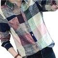 2016 Venda Quente Das Senhoras Do Sexo Feminino Casual de Algodão Camisa Xadrez de Manga Longa Mulheres Fino Outerwear Blusa Tops Blusas Tamanho Chemise Femme
