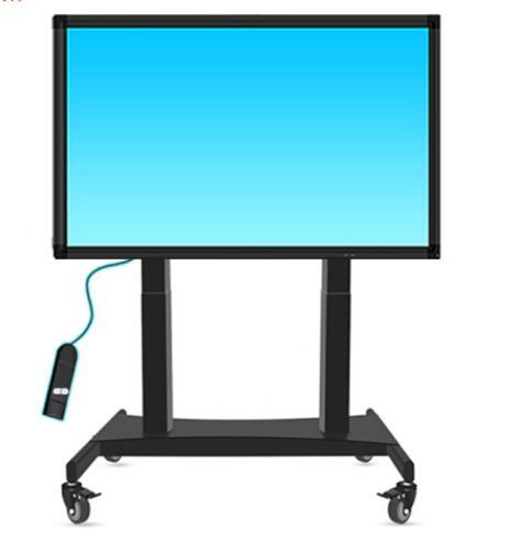 Support de plancher de terminal de vidéoconférence de chariot d'ascenseur électrique à télécommande support de TV mobile de secousse de 90 ° pour la télévision de LED