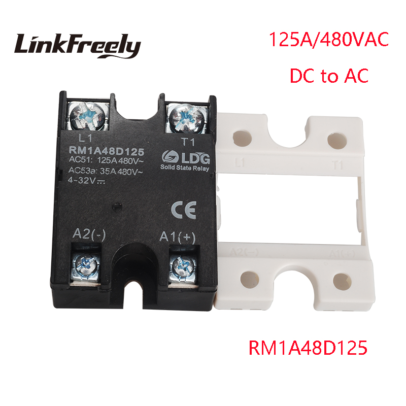 RM1A48D125 5pcs PLC Solid State Relay DC AC 125A Output:42-530VAC Input:5V 12V 24V DC SSR Relay Soft Starting Relay Switch Board new fx1s 20mr 4ad2da module board clock modbus 24vdc analog input output relay output for plc
