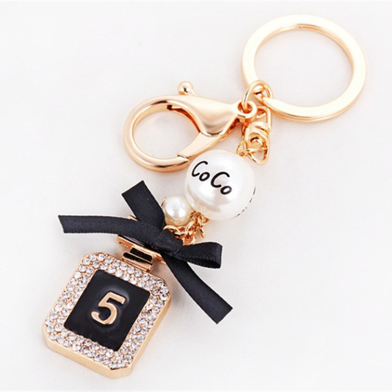 Brand Perfume Bottle Keychain Luxury Key Chain Fashion Key Ring Holder Keyrings Women Souvenirs Car Bag Charm Pendant