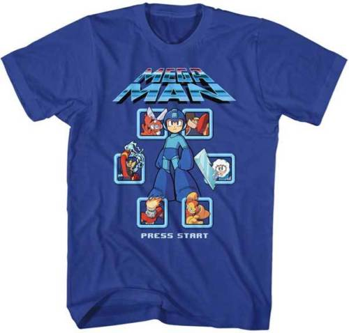 Mega Man Screen Select Remix Capcom Video Game Adult T Shirt Comfortable top tee ...
