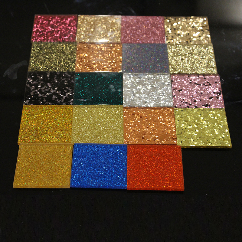 China Factory Supplier With Size 30mm*30mm*5mm  (L X W X T), Multi-Colors Acrylic (PMMA) Plexiglass Glittering Sheets Bags