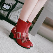 BYQDY Plus Size 34-48 Woman Boots 2020 Buckle Strap Block Heel Shoes Tassel Rivets Ankle Punk Boots Square Heels Russian Shoes red ankle boots studded rivets military boots designer shoes women luxury 2018 short combat cowboy boots womens buckle strap
