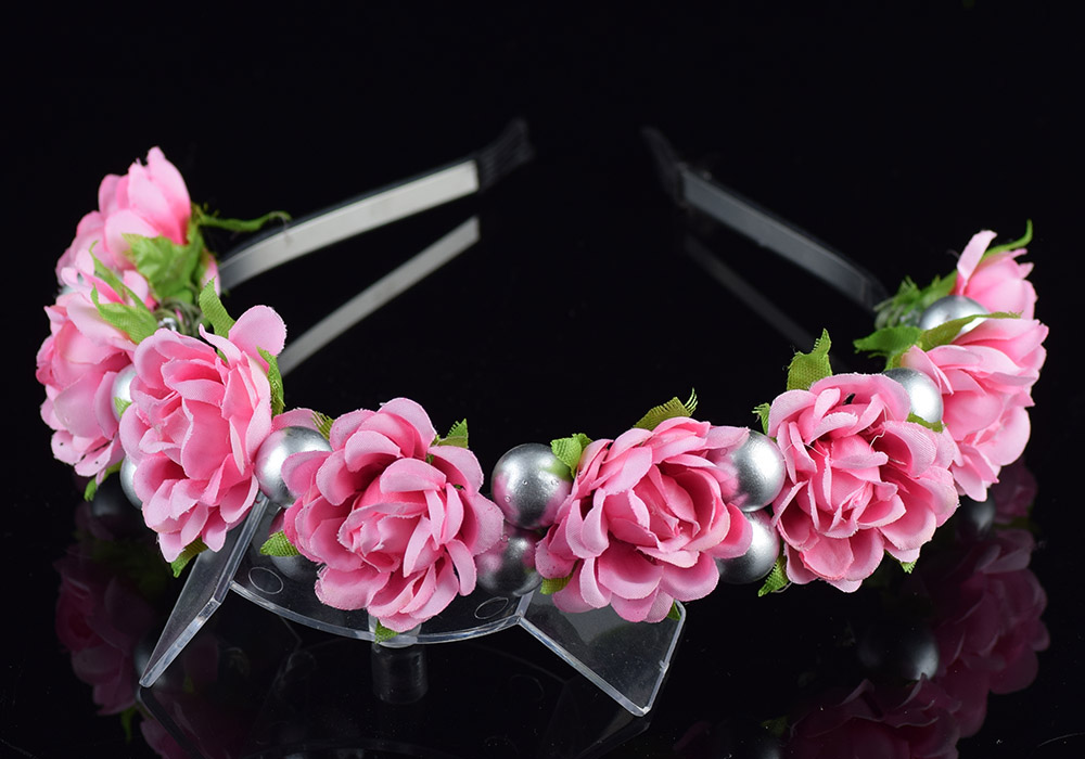 CXADDITIONS Jasmine Cherry Fabric Fresh Flower Wreath Bridal Floral Crown Headband Wreath Hair Accessories Headpiece Bridesmaid
