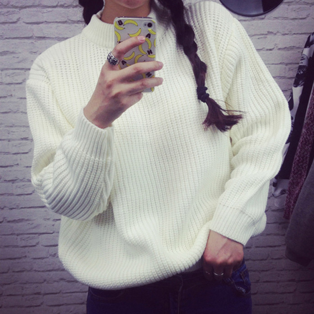 Autumn Winter Women Fashion Loose Half-collar Long sleeve Solid Color Pullover Female Girls Student Wool Sweater