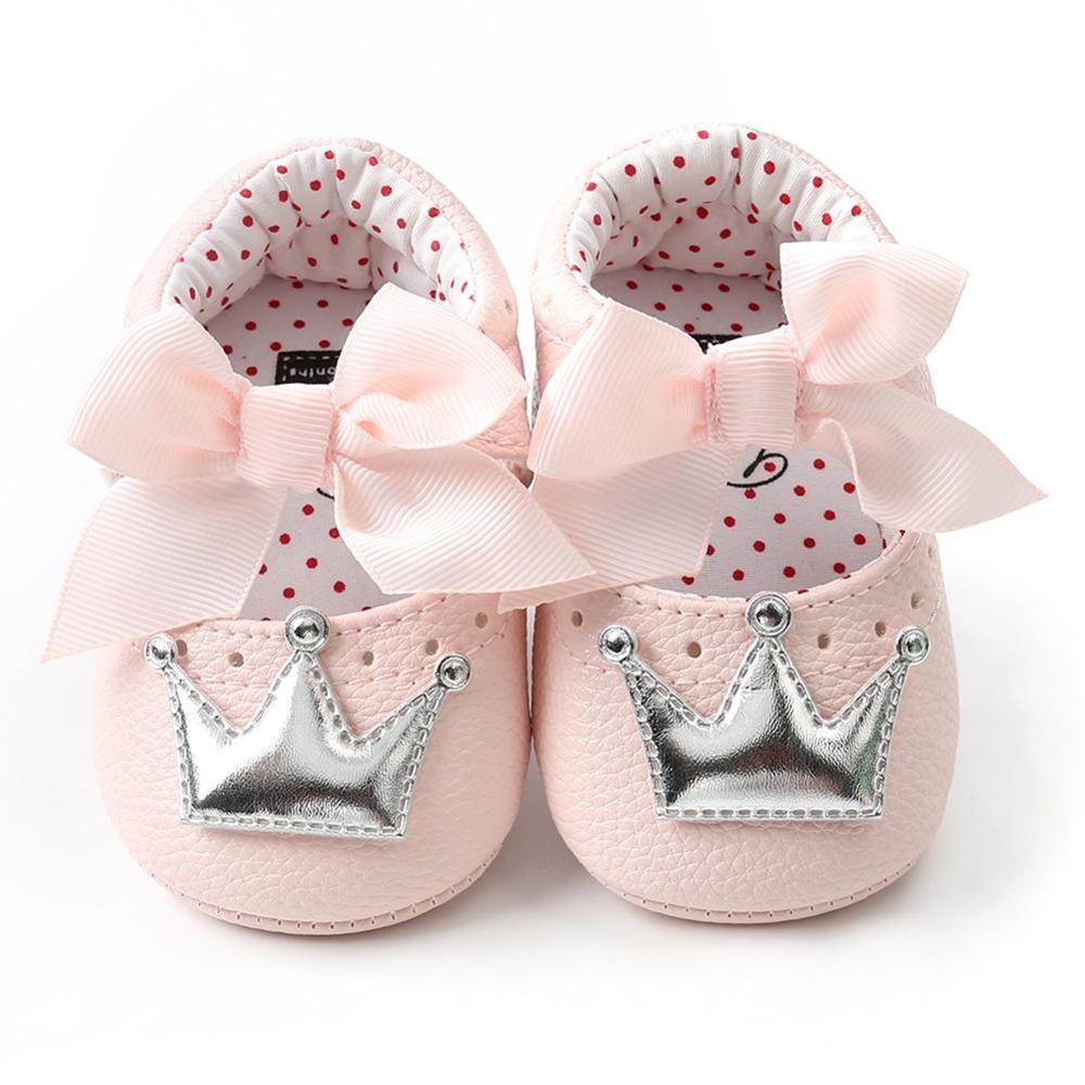 Летняя детская обувь для новорожденных девочек с мягкой подошвой, повседневные хлопковые туфли с короной для принцессы - Цвет: PS