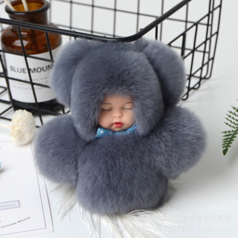 11cm Cute Sleeping Baby Doll Key Chain Real Rex Rabbit Fur Keychain Fluffy <font><b>Pom</b></font> <font><b>Pom</b></font> <font><b>Keyring</b></font> Bag Car Trinket Women Gift YS013 image