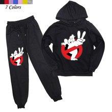 2 pçs crianças ghostbusters roupas meninos meninas com capuz moletom harem calças crianças outwear esporte terno de jogging