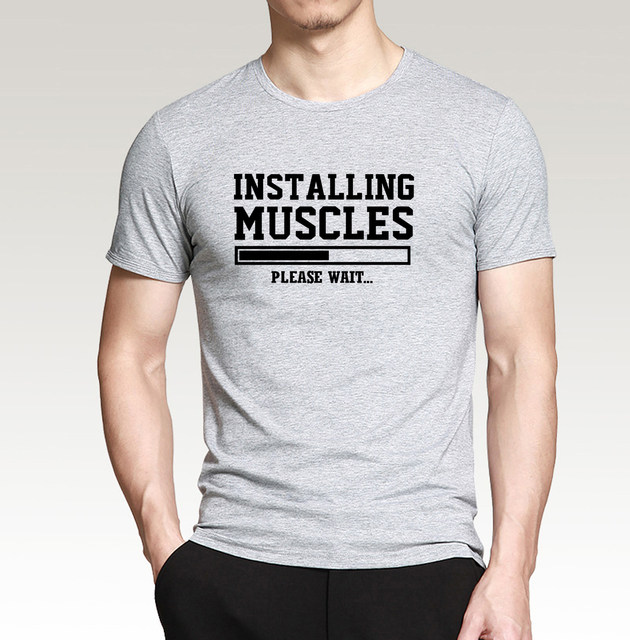 dc98887d9 Funny Men t shirt Installing Muscles Letters 2018 summer casual Crossfit  Fitness 100% cotton high quality top tees 8 colors