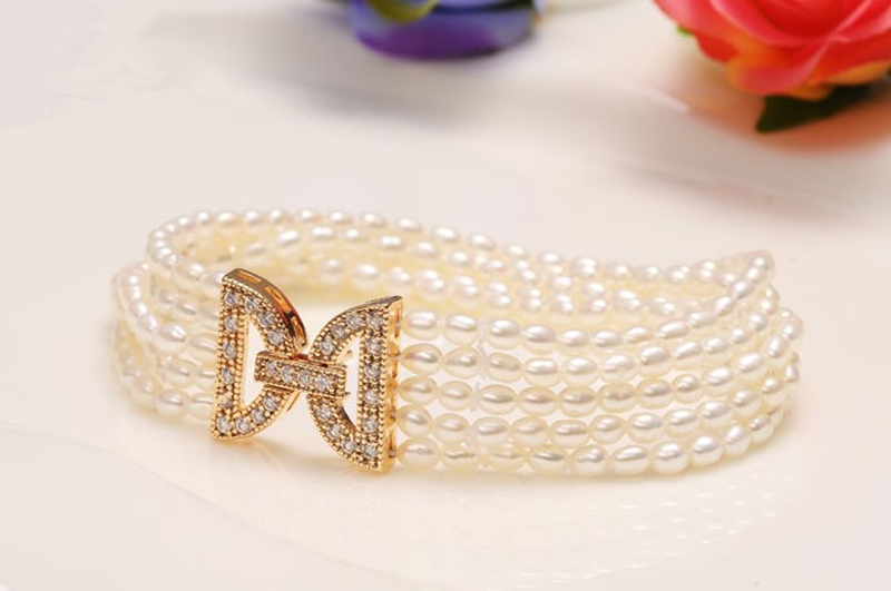 Eternal wedding Women Gift word 925 Sterling silver real Wrapped multi layer 100 natural freshwater pearl bracelet multi row in Bangles from Jewelry Accessories