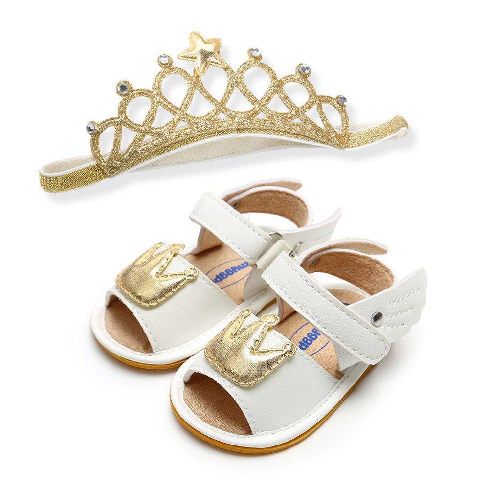 """""""Couronne"""" Style Pu bébé sandales nouveau Design chaussures et bandeau ensembles"""