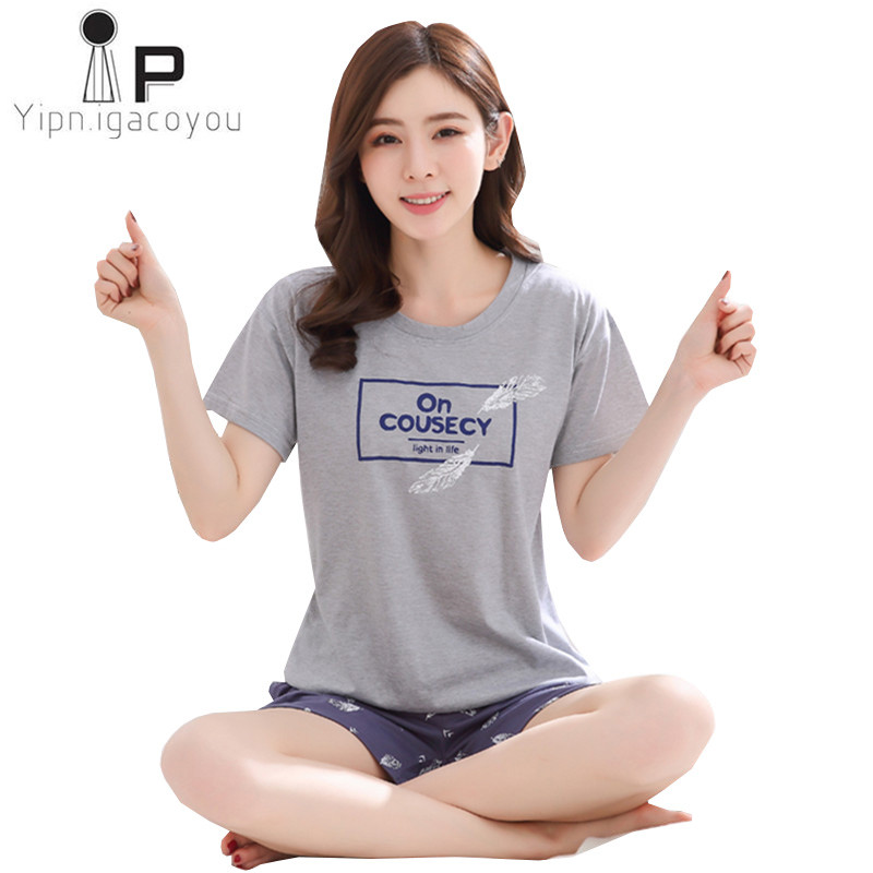 Pyjamas Women 2020 Summer Hin Cotton Home Clothes For Women Pijamas Two Piece Night Suit Kawaii Sleepwear Ladies Pajama Set 3XL