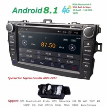 android8.1 car dvd player For Toyota corolla 2007 2008 2009 2010 2011 in dash 2 din 1024*600 car radio gps video head unit 2GRAM