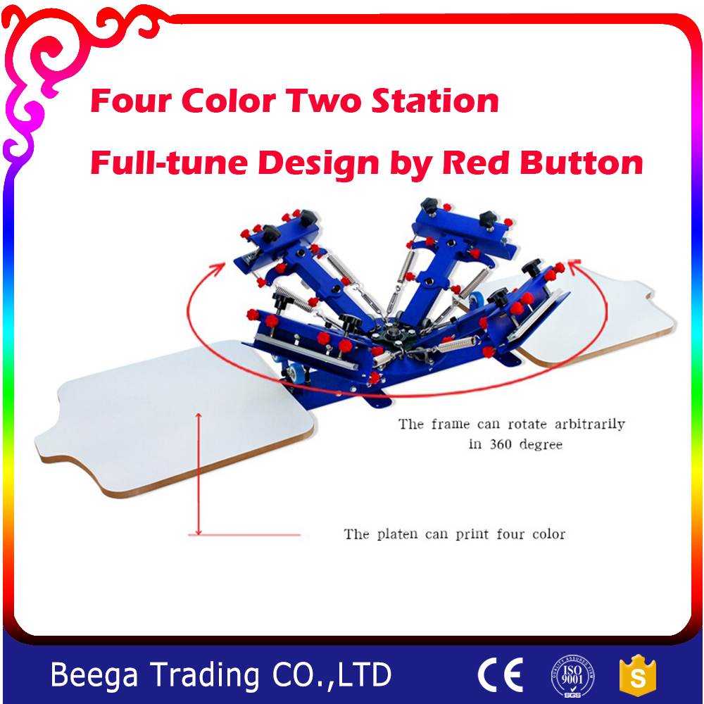 Discount 4 color 2 Station Silk Screen Printing Machine T-shirt Printer Press Equipment Carousel
