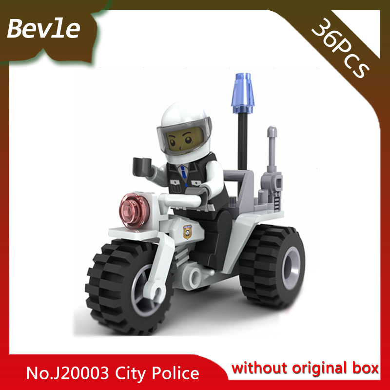 Bevle Store LEPIN 20003 36Pcs CITY Series Patrol Motorcycle Model Building Blocks set Bricks For Children Toys Wange Gift hot sembo block compatible lepin architecture city building blocks led light bricks apple flagship store toys for children gift