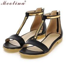 Meotina Shoes Women Sandals Summer Open Toe T-Strap Flat Sandals Flats Zip Sequined Beach Shoes White Ladies Shoes Size 42 43