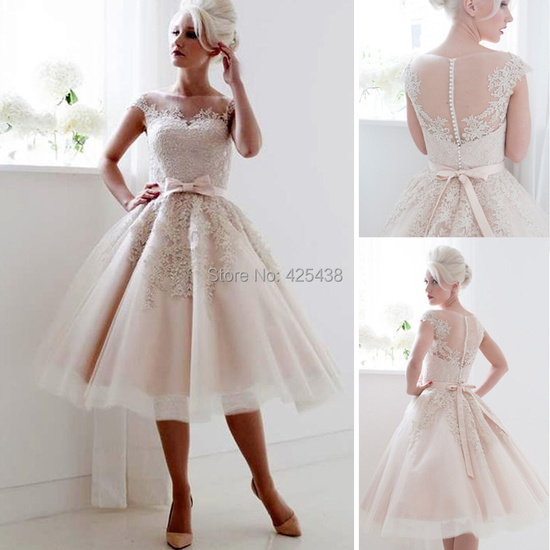 Vintage 1950 39 s style cap sleeves tea length saudi short for Retro tea length wedding dresses