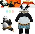 autumn cartoon panda style long-sleeve romper fashion baby boys girls cartoon kungfu panda rompers infant overall 3pcs