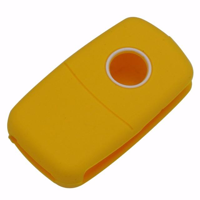 jingyuqin 2 Button Silicone Flip Rubber Car Key Cover Case for VW Volkswagen Amarok Polo Golf MK4 Bora Jetta Altea Alhambra