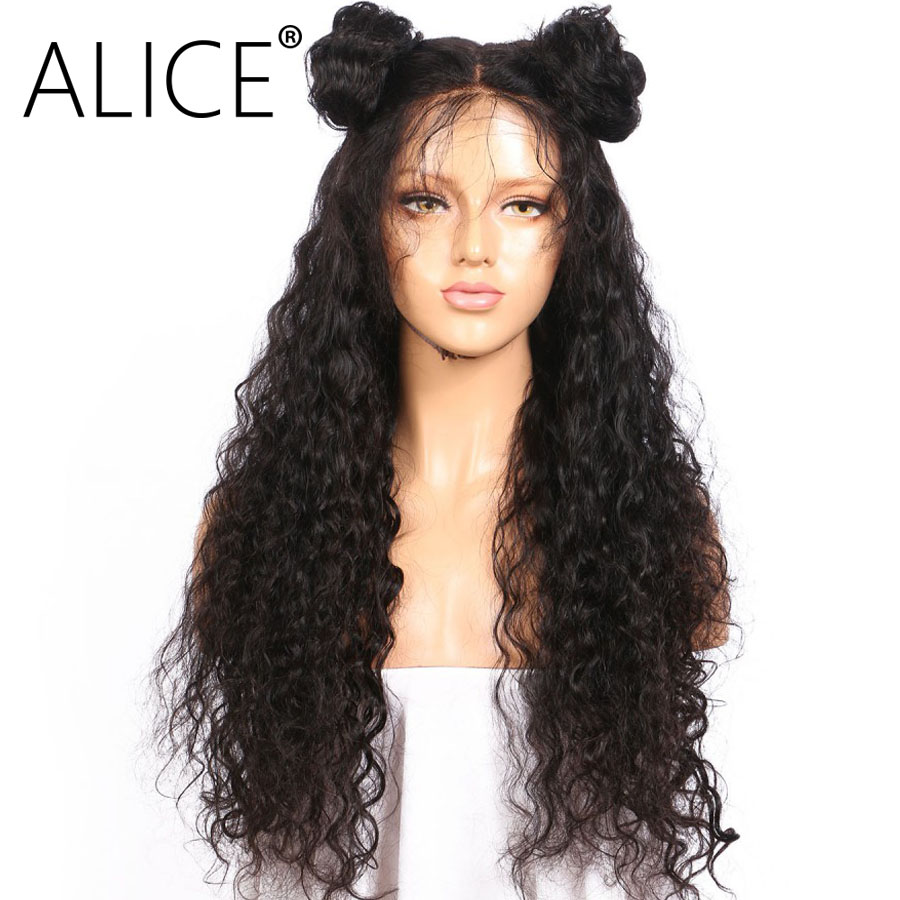 ALICE 250 Density 360 Lace Frontal Wig For Black Women Brazilian Kinky Curly 360 Wig Pre Plucked Virgin Hair Natural Black Color