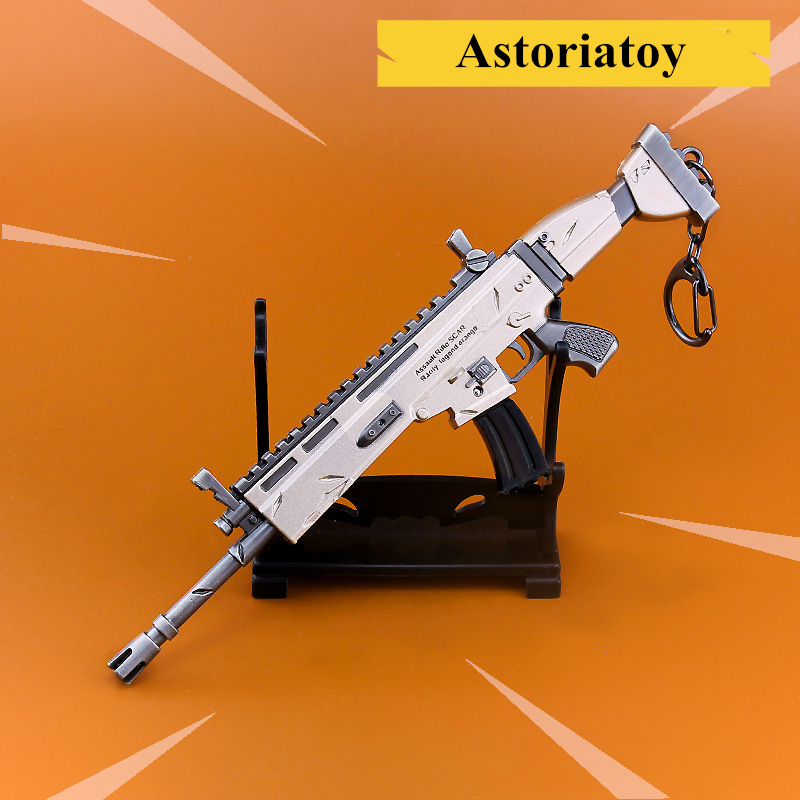 Fortnight Battle Royale Toy Model The Scar shot gun Keychain Alloy Weapons Kids Toy Collection Decoration zinc alloy fort weapons fortnit metal model toy nite keychain gun sniper rifle awm nit figure fornite